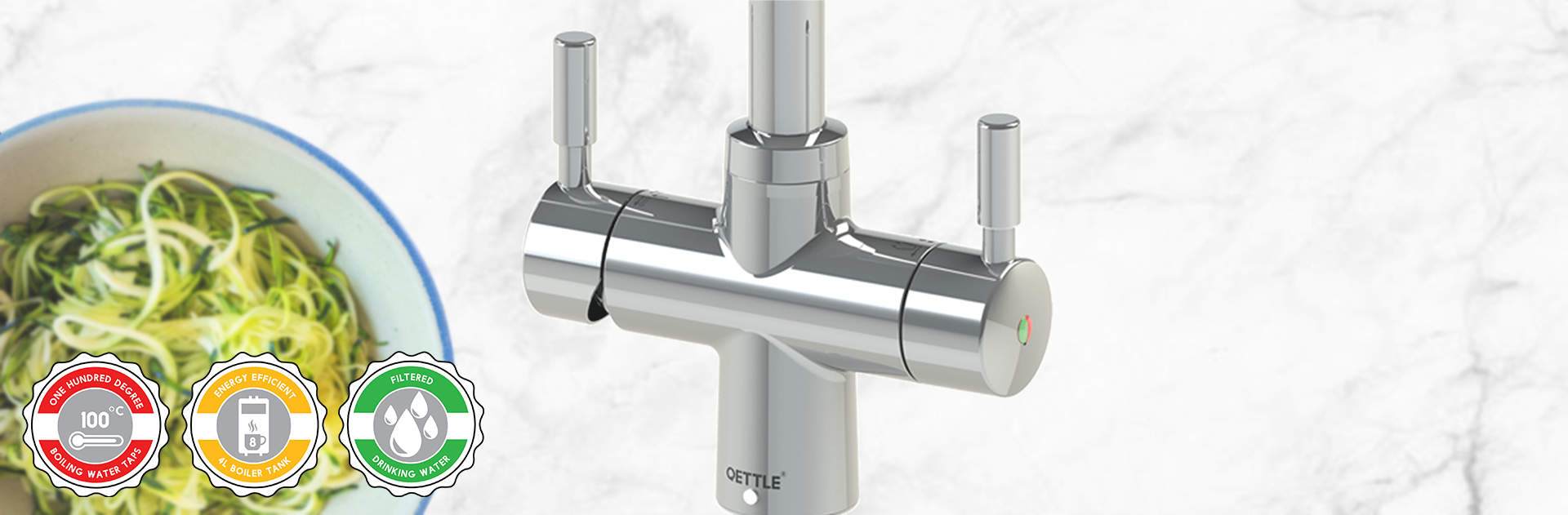 Qettle 4-in-1 Hot, Cold, Filtered Cold & Filtered 100˚C Boiling Water Tap